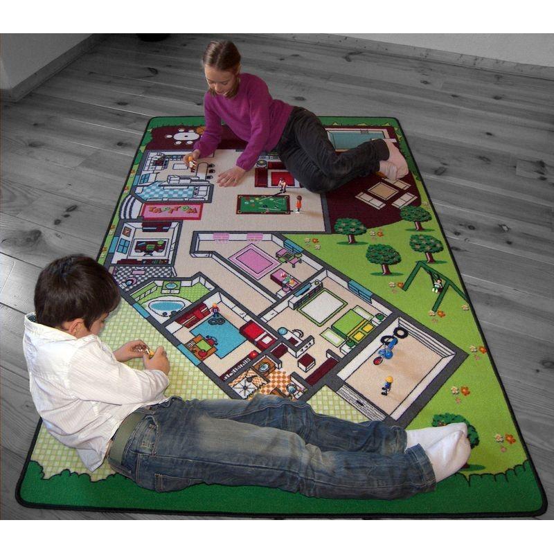 tapis de jeu la maison pour chambre enfant en polyester. Black Bedroom Furniture Sets. Home Design Ideas