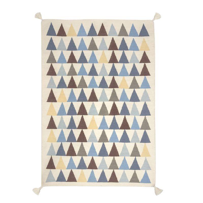 tapis triangles bleu en laine d coration chambre gar on art for kids. Black Bedroom Furniture Sets. Home Design Ideas