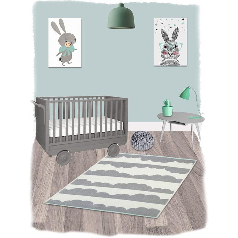 Tapis daphne gris rectangle coton pour chambre b b par for Tapis pour chambre bebe