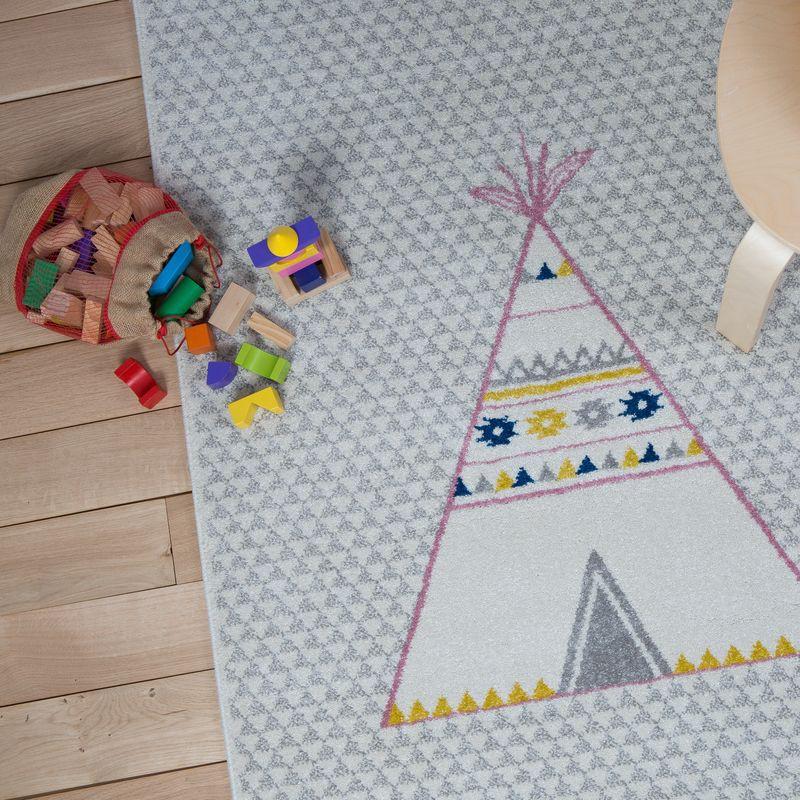 Tapis tipi bleu et rose rectangle chambre bebe par art for for Tapis rose chambre bebe