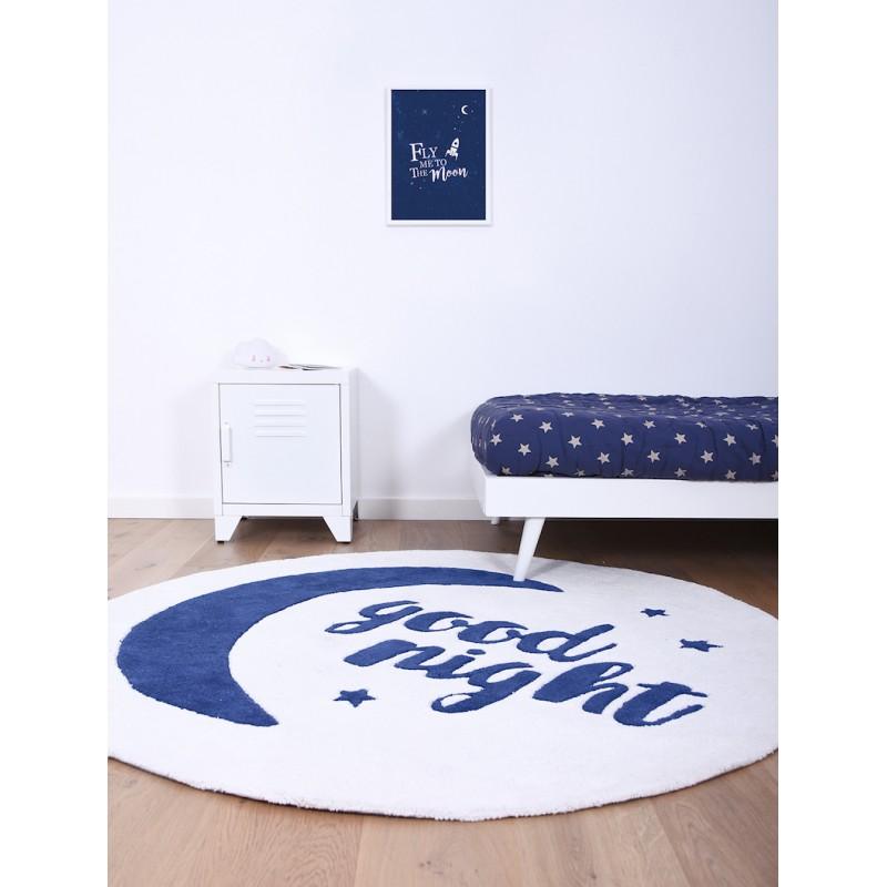 Tapis Good Night rond bleu chambre enfant par Lilipinso