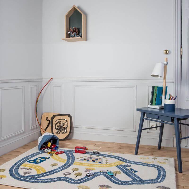 tapis circuit bleu pour chambre gar on par art for kids. Black Bedroom Furniture Sets. Home Design Ideas
