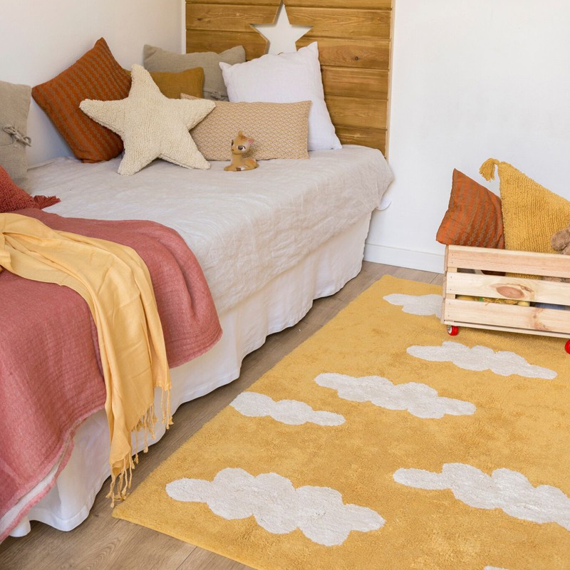 tapis nuage jaune moutarde en coton rectangle lavable par lorena canals. Black Bedroom Furniture Sets. Home Design Ideas