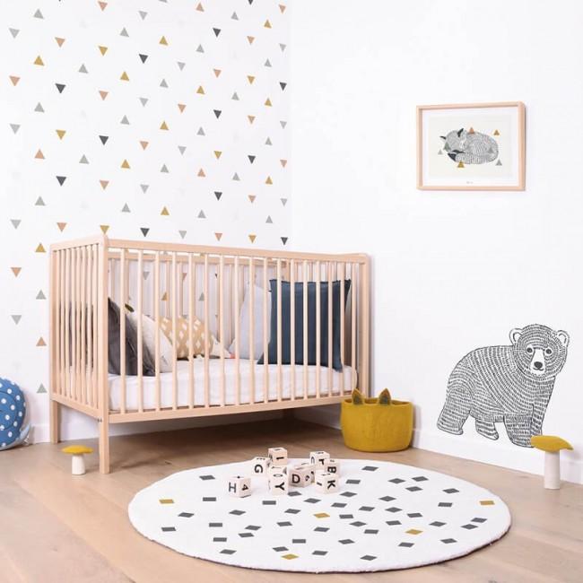 PETITS CARRES blanc rond chambre bébé par Lilipinso