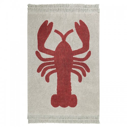 LOBSTER Naturel rectangle coton lavable avec franges par Lorena Canals