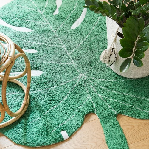 Tapis coton forme feuille...