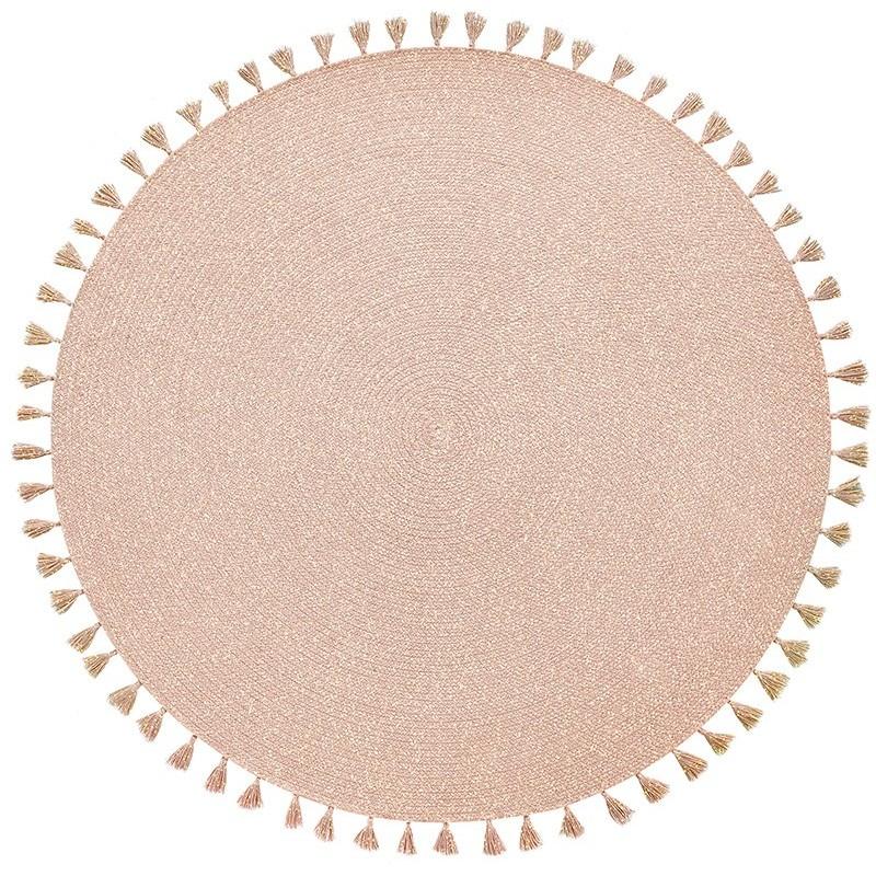 tapis design rond pompons heloise rose nude or chambre enfant cree par nattiot