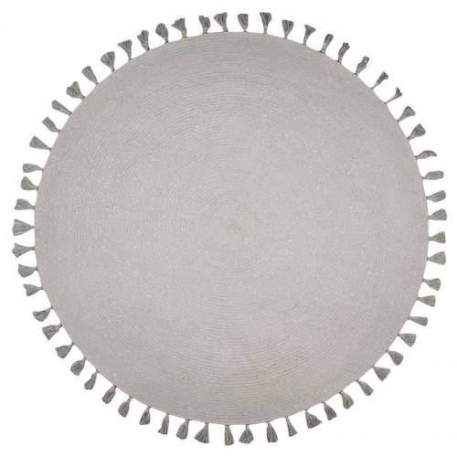 Tapis design rond pompon,...